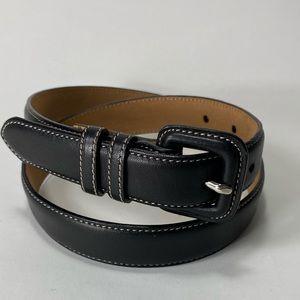 Talbots black leather belt contrast stitching XS